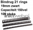 Fellowes Bindrug 19mm 21rings A4 100 stuks zwart
