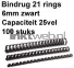 Fellowes Bindrug 6mm 21rings A4 100 stuks zwart