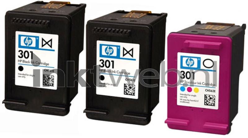HP 301 3-Pack zwart en kleur (Origineel) - Inktweb.be